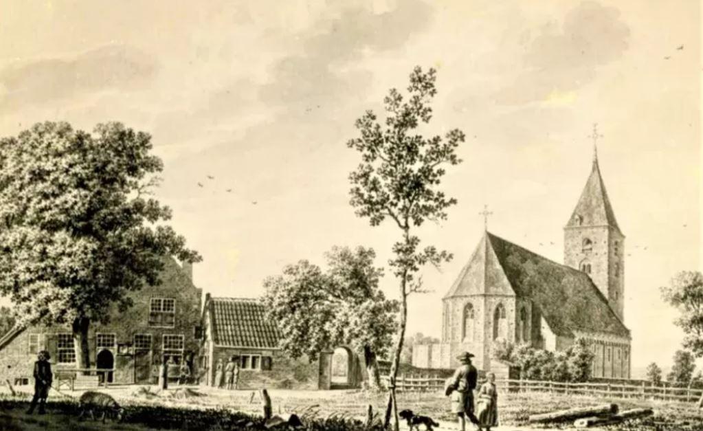 De kerk in Oud-Leusden, voor de sloop getekend door Jordanus Hoorn in 1784. © Archief Ronald Polak